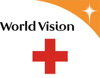 Logo for World Vision and Red Cross.