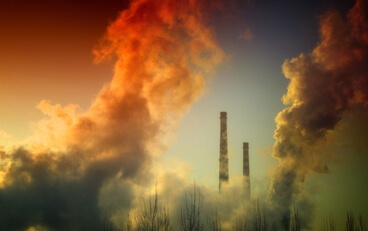 Air pollution and VOCs being monitored by a continuous emissions monitoring system.