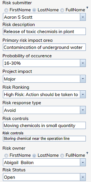Risk Form from ERA