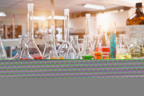 Chemicals in a lab with physical chemical properties